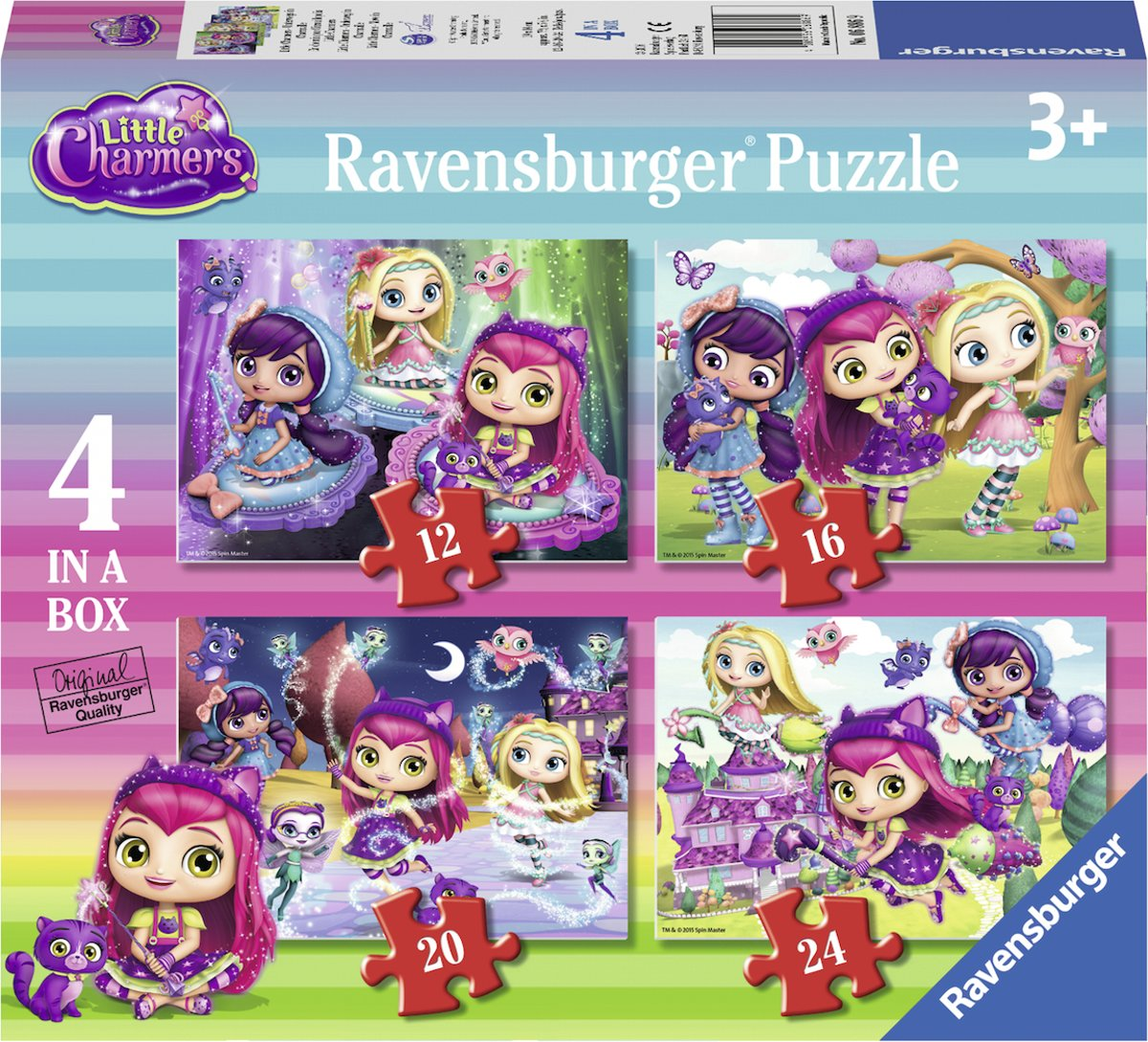 Ravensburger Little Charmers 4in1box puzzel - 12+16+20+24 stukjes - kinderpuzzel