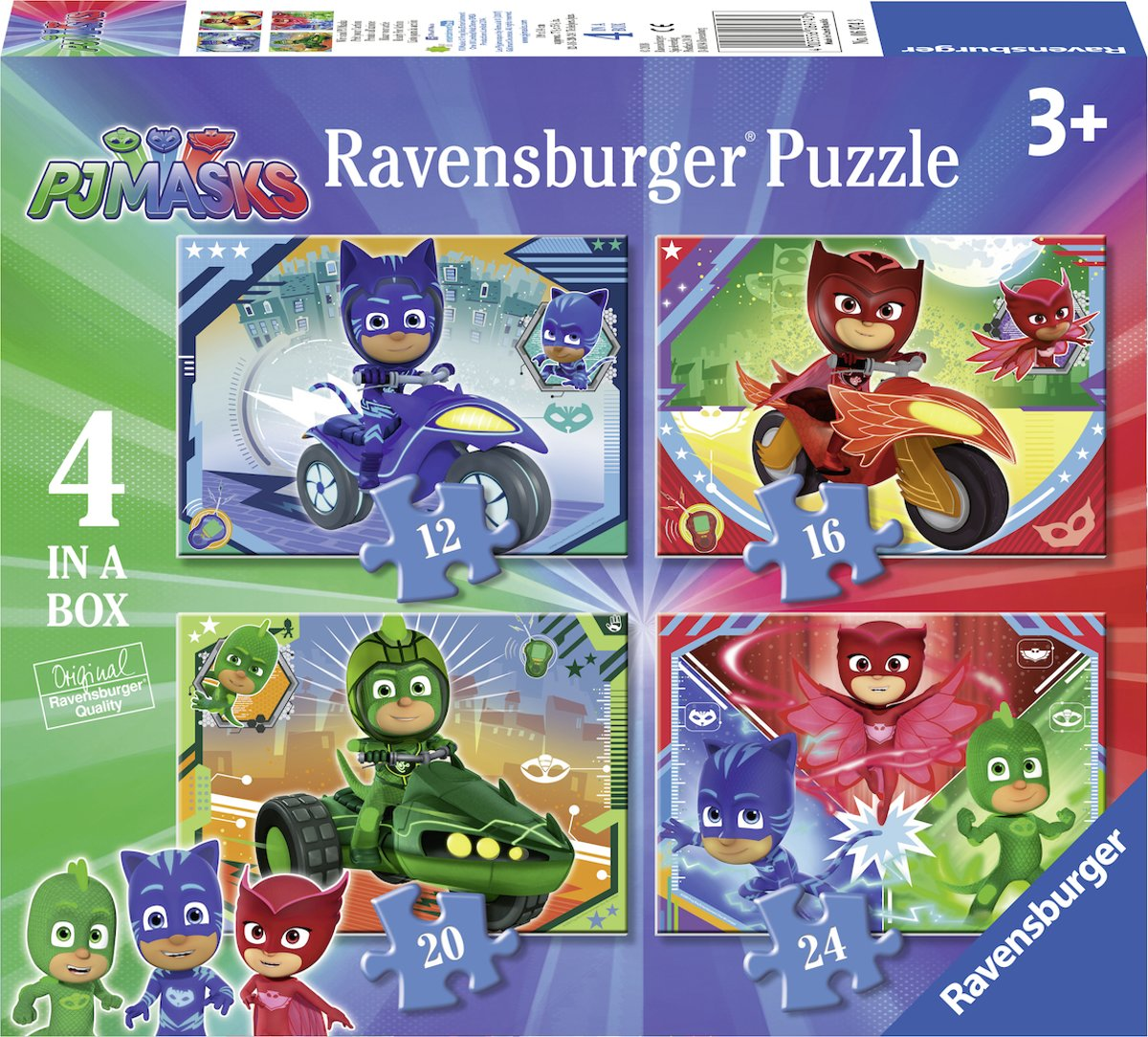 Ravensburger PJ mask 4in1box puzzel - 12+16+20+24 stukjes - kinderpuzzel
