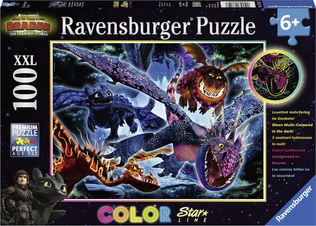 Ravensburger puzzel Dragons 3 Color Starline - Legpuzzel - 100 stukjes
