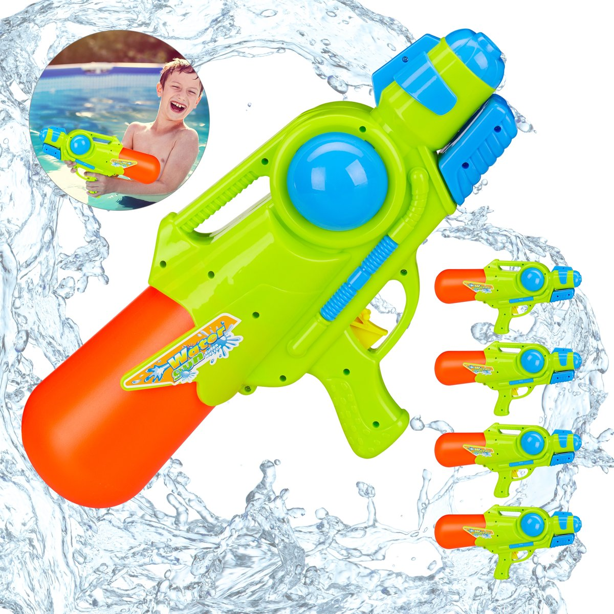 relaxdays 5 x waterpistool - super soaker kinderen - water gun - 1 liter reservoir