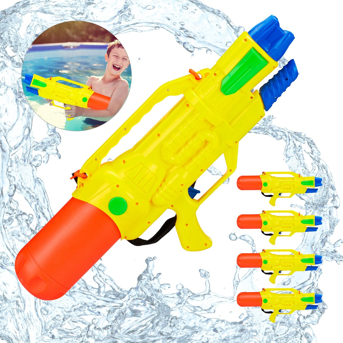 relaxdays 5 x waterpistool - super soaker kinderen - waterkanon - water pistool - 1.8 L