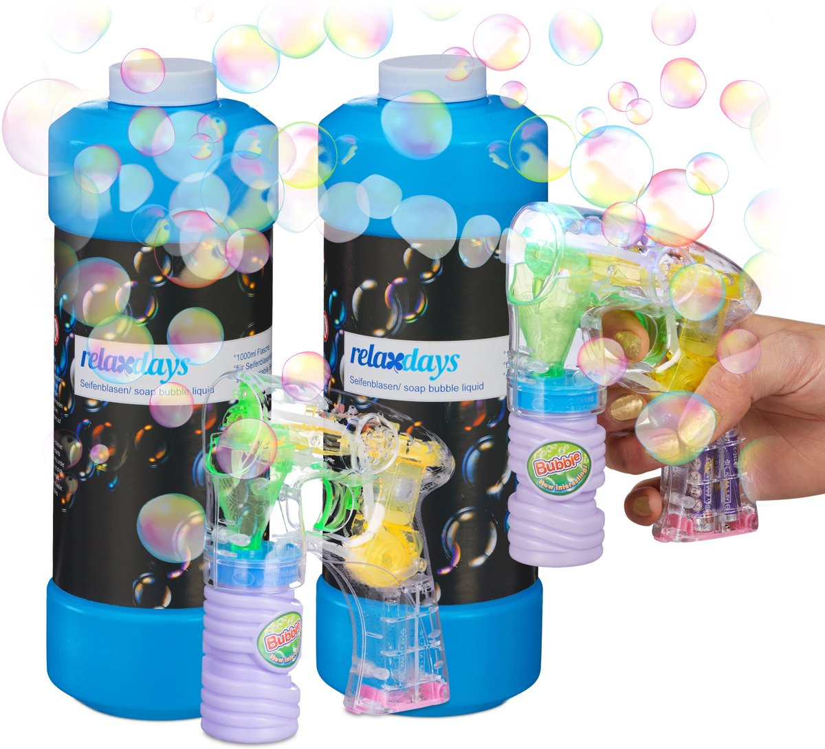 relaxdays XL bellenblaas set - bellenblaaspistool met LED - 2 liter bellenblaasvloeistof