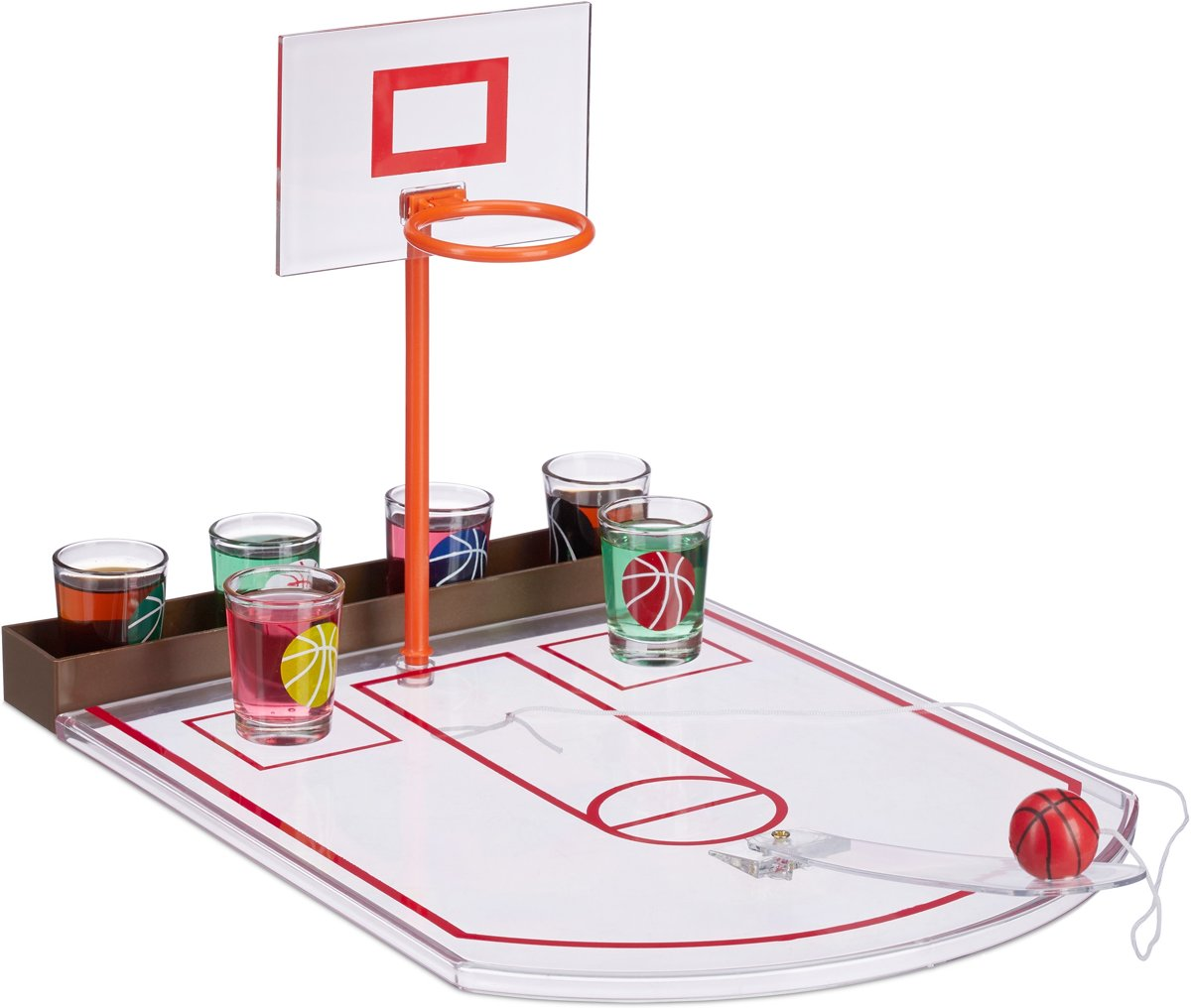 relaxdays basketbal drinkspel met 6 glaasjes - zuipspel - drankspel basket - shotglas game
