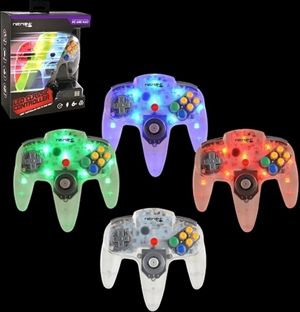 N64 Style USB Controller (Blue/Red/Green LED)