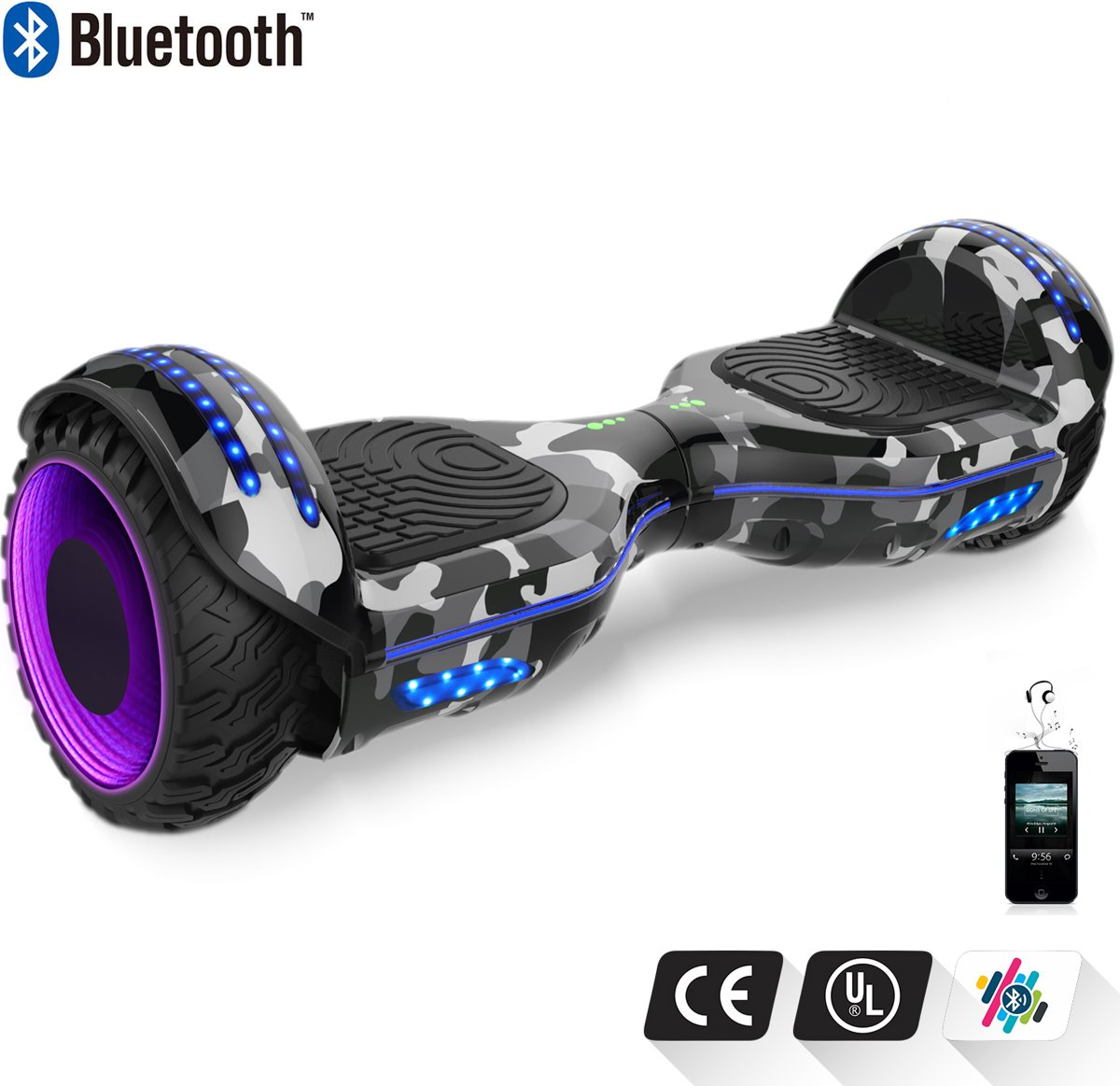 Road Flow Hoverboard SUV 6.5 inch met Flits Wielen, Gyropode Off-Road met TAOTAO moederbord, Bluetooth Speaker, LED-lamp, CE gecertificeerd