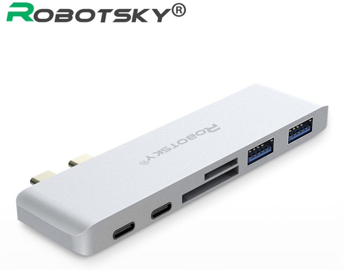 6 in 1 USB type c HUB/Adapter | 2 usb 3.0 | SD | Micro SD | 2 usb type c | Grijs | Macbook