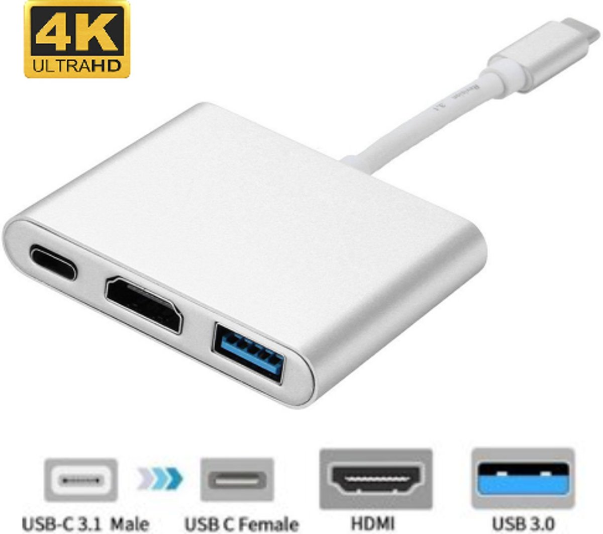 USB 3.1 Type-C Naar HDMI / USB 3.0/ USB C - F Adapter Multipoort