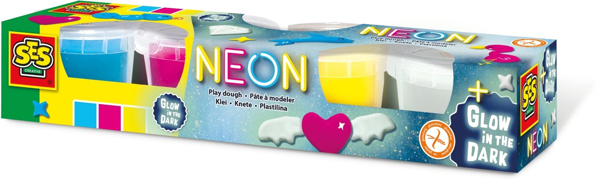 Neon en Glow in the dark klei 4x90gr