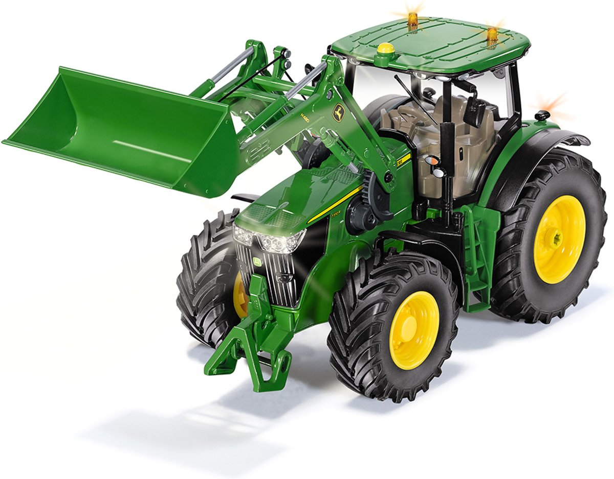 John Deere 7310R with front loader and bluetooth app control