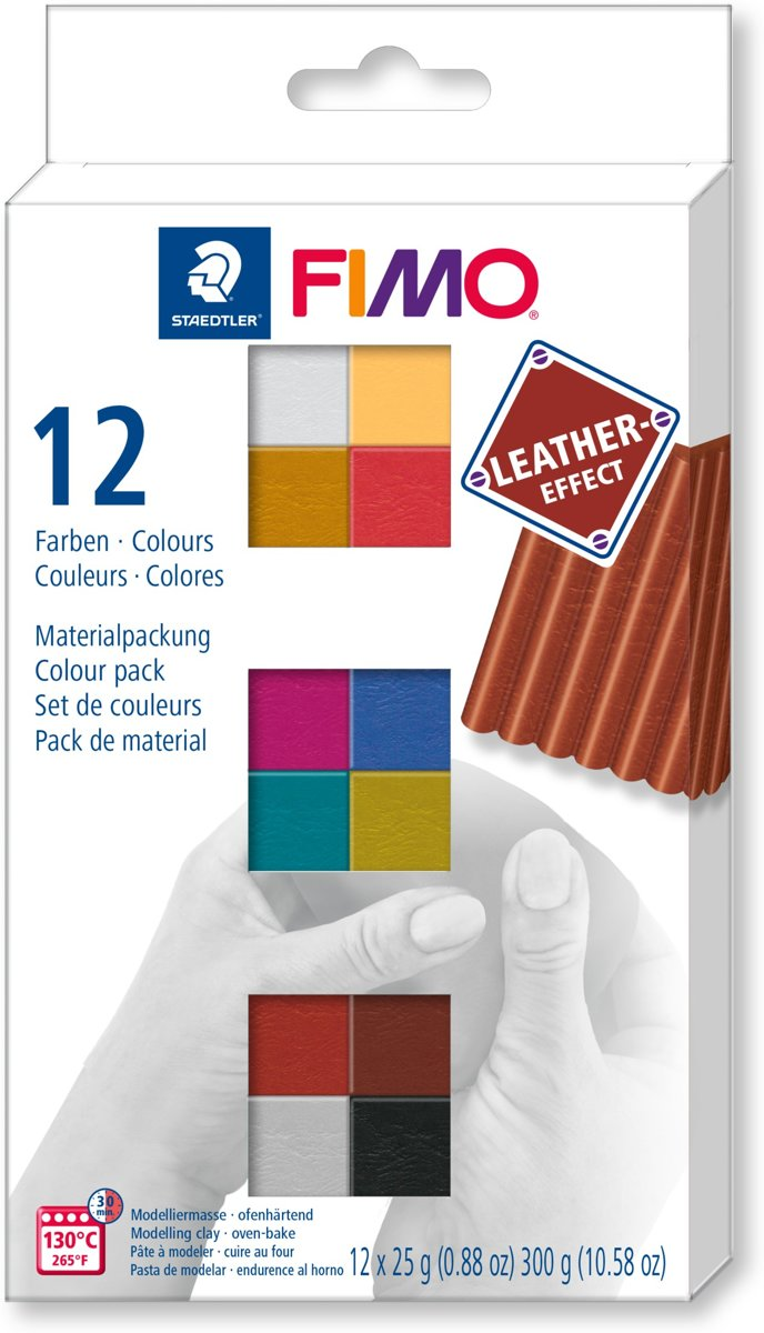 Fimo leather-effect set - colour pack 12 st