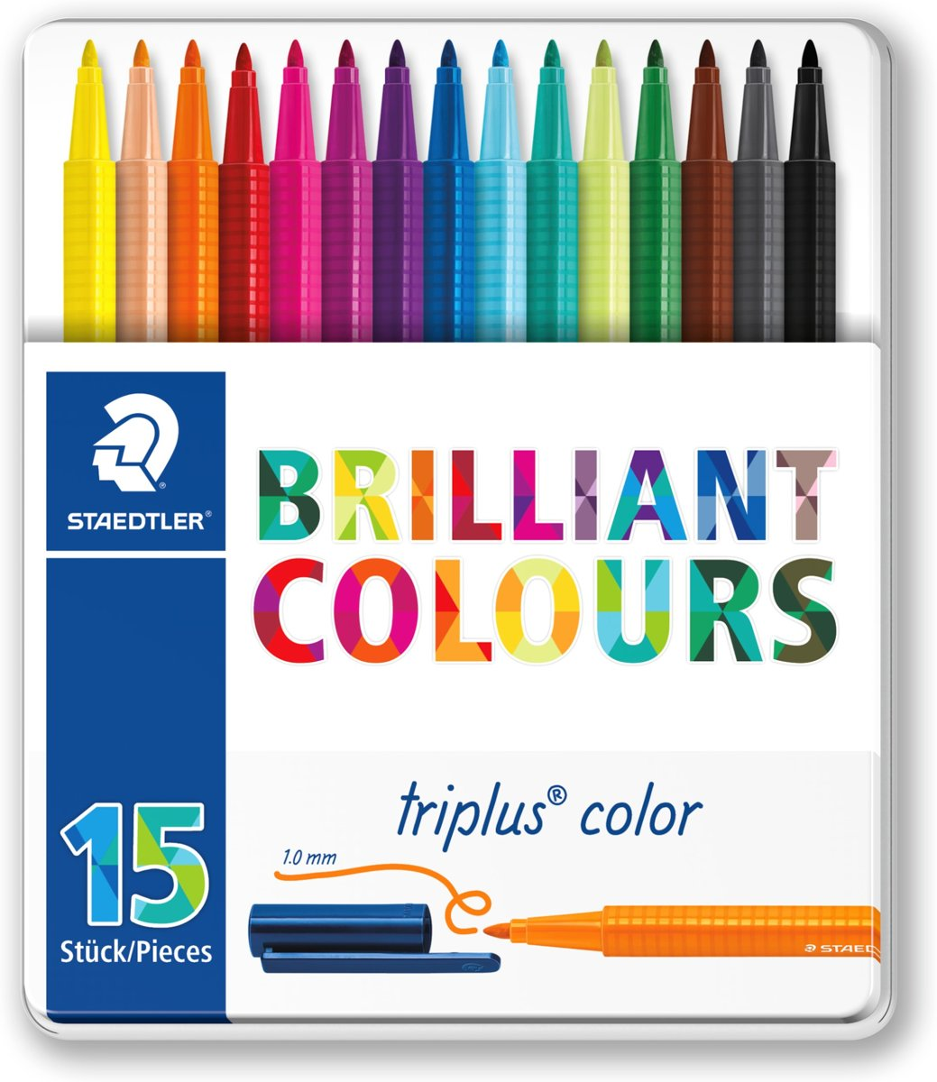 triplus color kleurstift - metalen etui 15 st