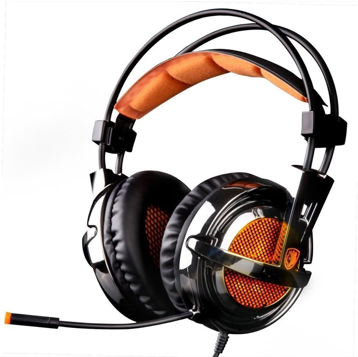 SADES Magic Crystal USB Gaming Headset 7.1 Channel Wired hoofdtelefoon met Wire Control + Mic + Breathing licht voor PC, Laptop (Black+Orange)