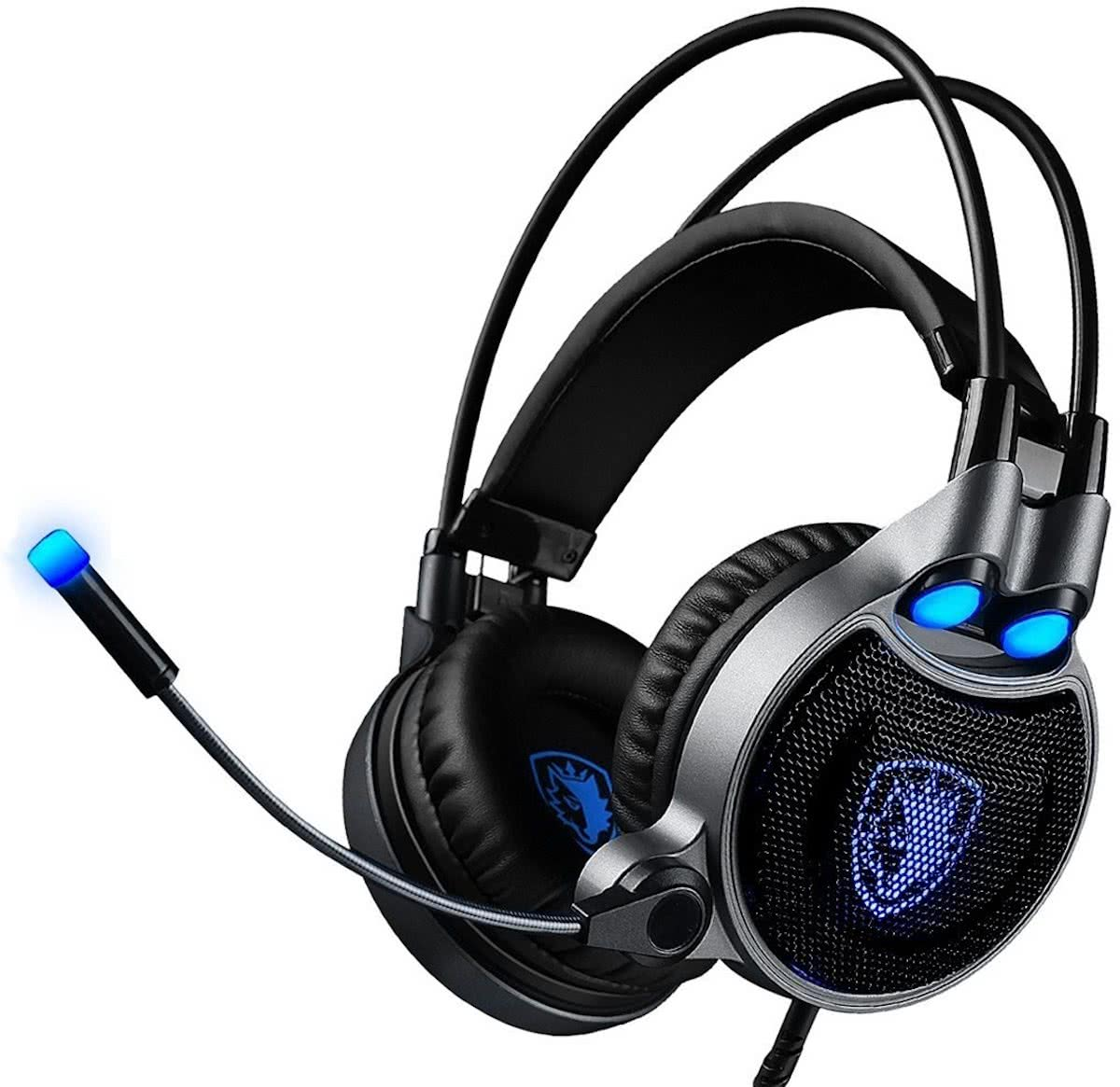 SADES R1 USB Gaming Headset 7.1 Channel Wired hoofdtelefoon met Wire Control + Mic + licht voor PC, Laptop (Black+Blue)