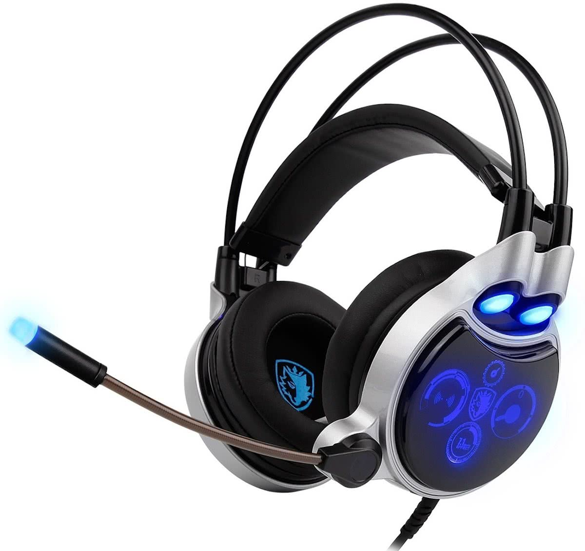 SADES R8 USB Gaming Headset 7.1 Channel Wired hoofdtelefoon met Wire Control + Mic + licht voor PC, Laptop (Black+zilver)