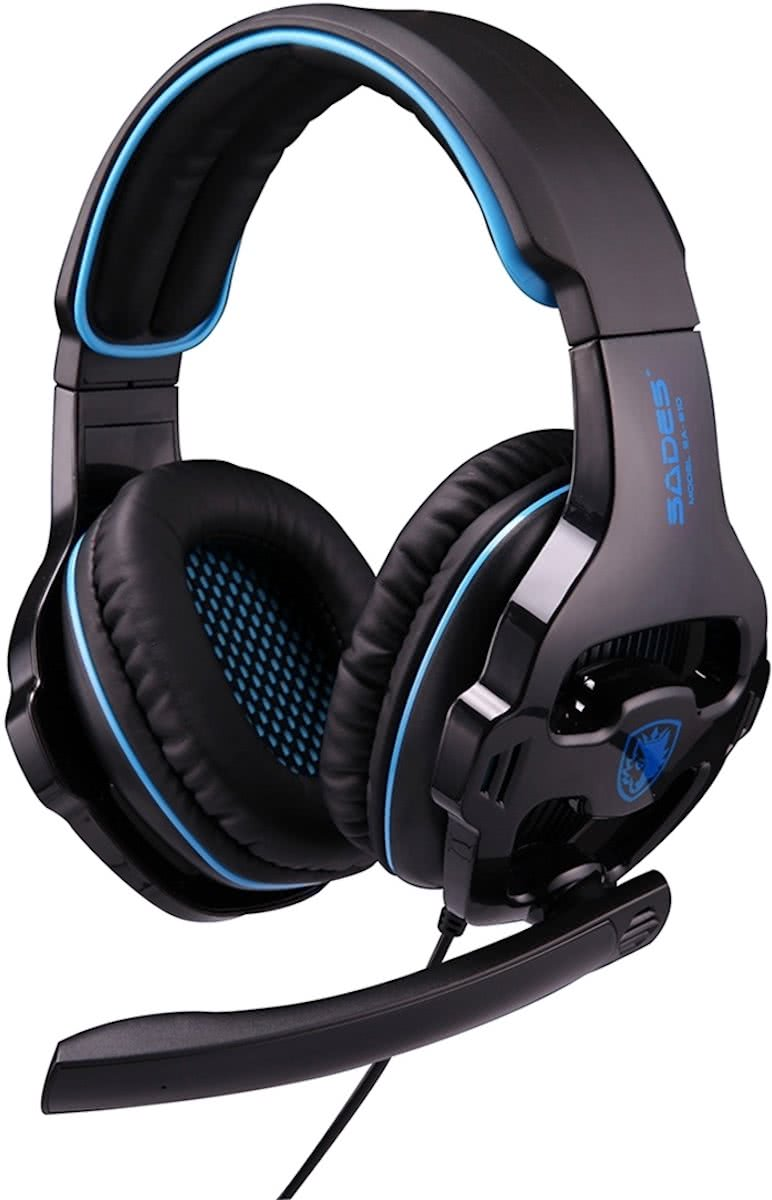 SADES SA-810 3.5mm Gaming Headset Wired hoofdtelefoon met Wire Control + Mic voor PC, Laptop (Black+Blue)