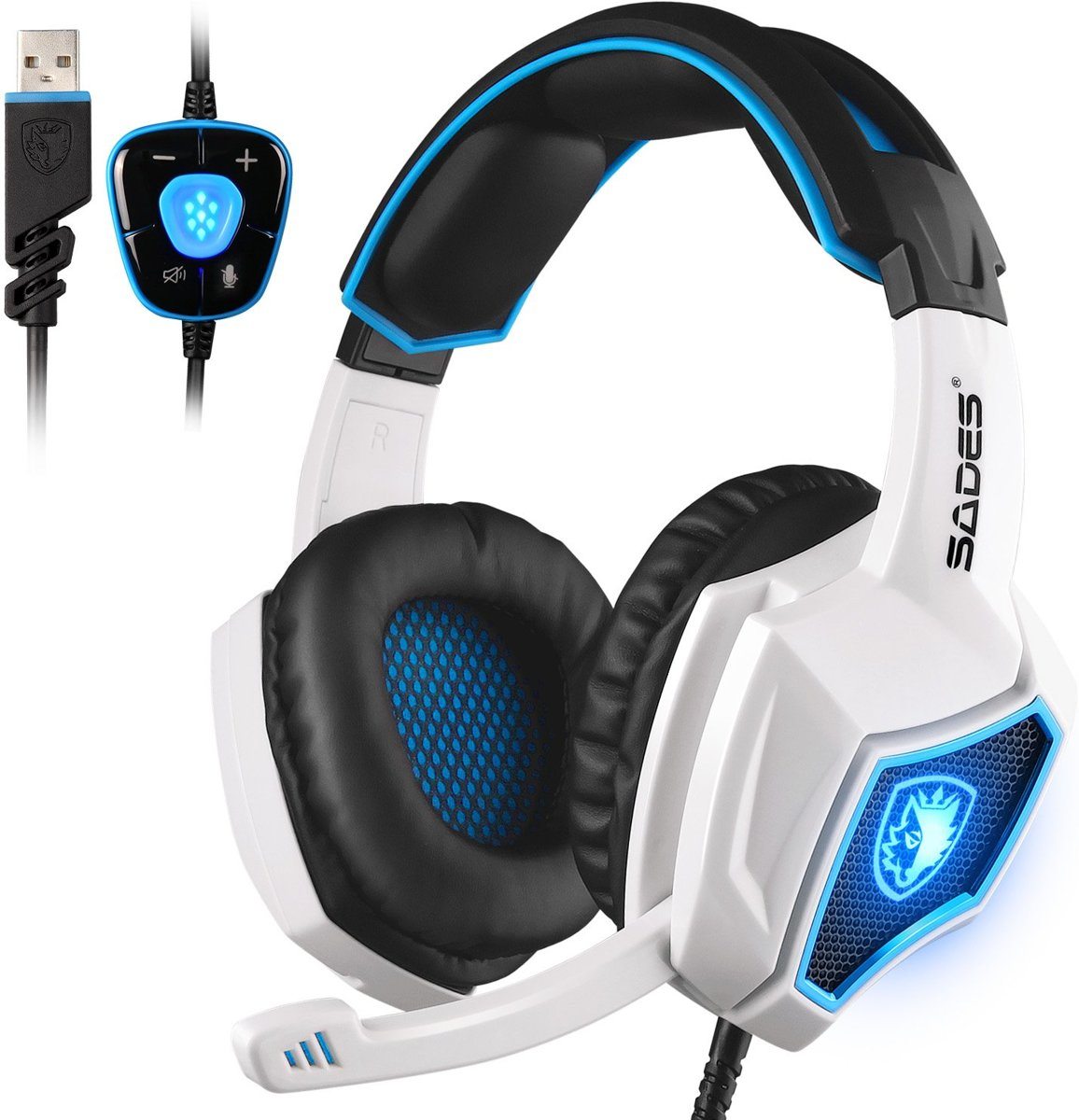 sa903 7.1 Surround Sound over-oor USB Computer Gaming Headset met verborgen microfoon Wit