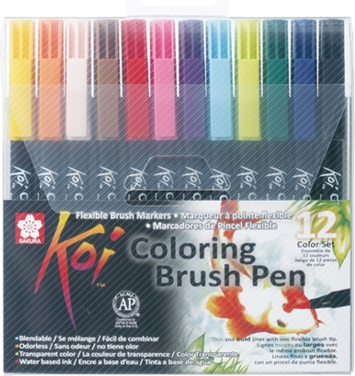 Koi Coloring Brush Pen set 12 kleuren brushpen penseelpen penseelstift