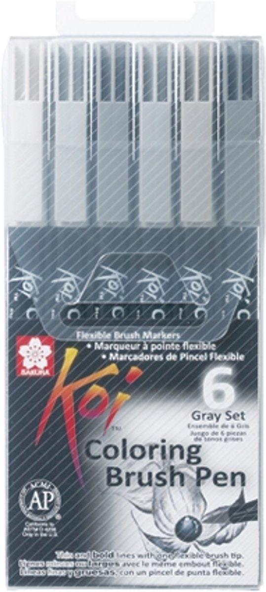 Koi Coloring Brush Pen set 6 grijstinten brushpen penseelpen penseelstift