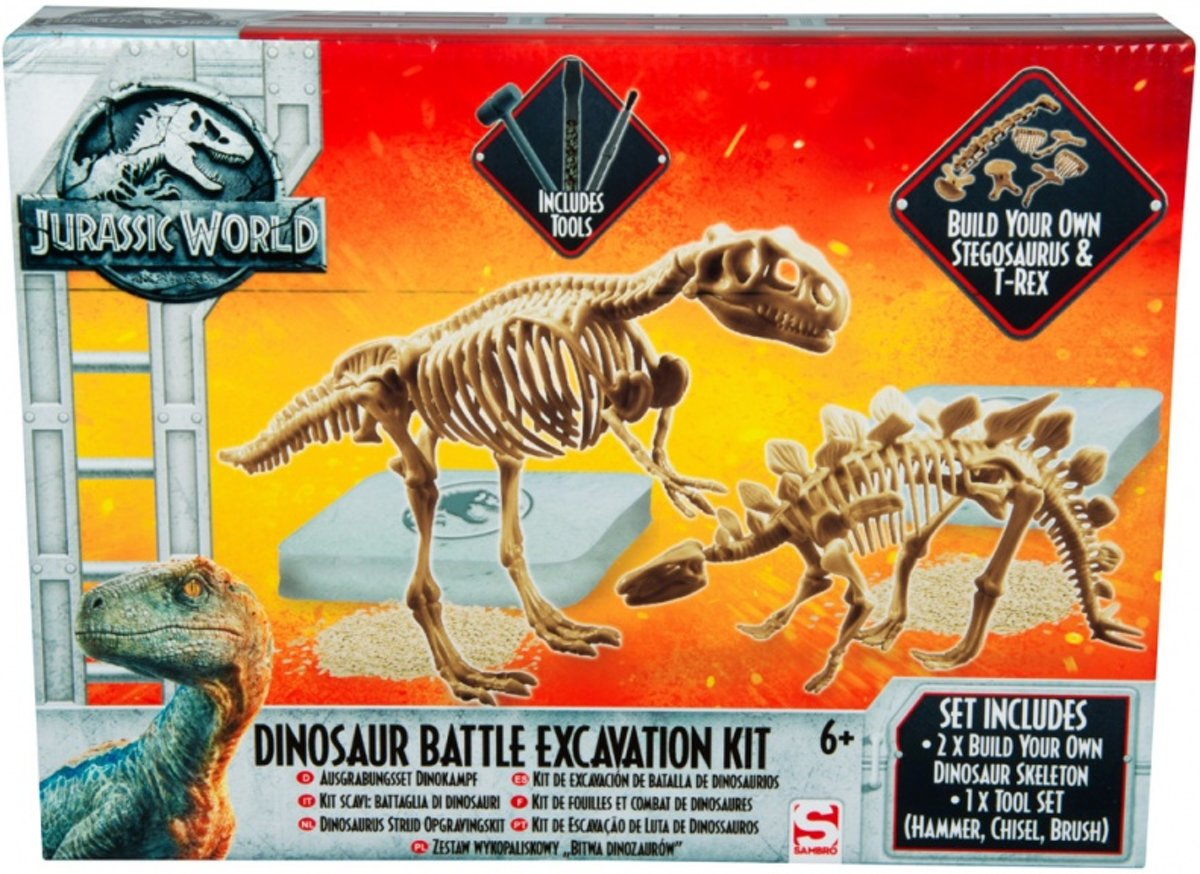 Uitgraafset | Sambro Jurassic World Large Dinosaur Dig And Discover Battle Pack - Excavation Dig Kit