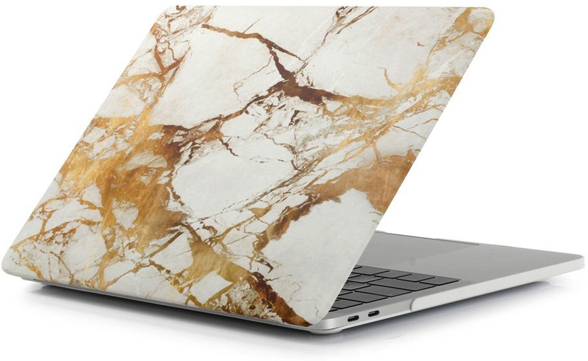 Shop4 - MacBook 13 inch Pro (2017) Hoes - Hardshell Cover Marmer Wit Goud