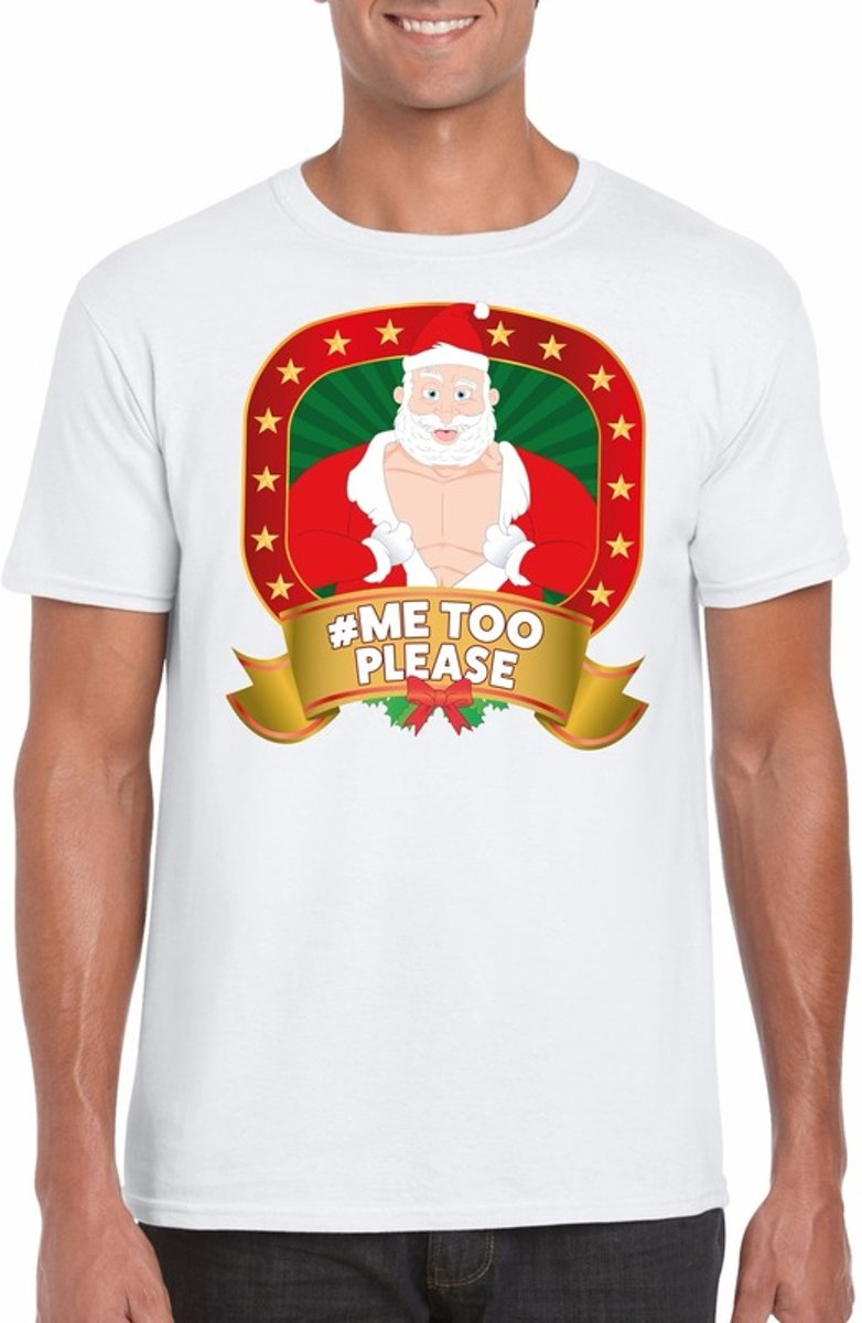 Foute Kersttrui Xl.Foute Kerst Shirt Wit Horney Kerstman Hashtag Me Too Please