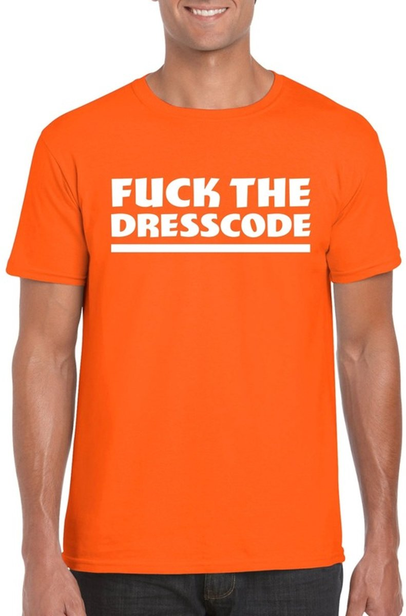 Fuck the dresscode heren shirt oranje - Heren feest t-shirts M