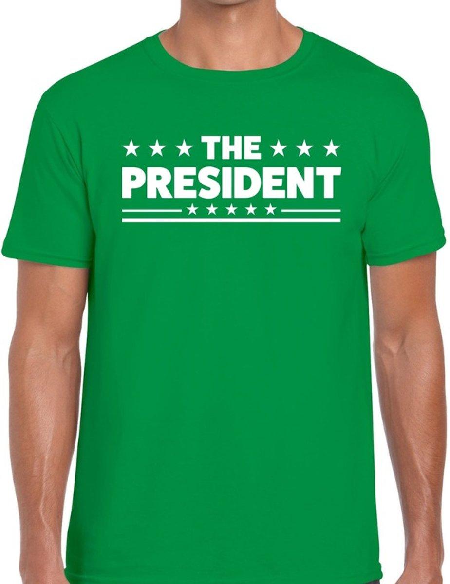 3d4357721feea2 The President tekst t-shirt groen heren - feest ...