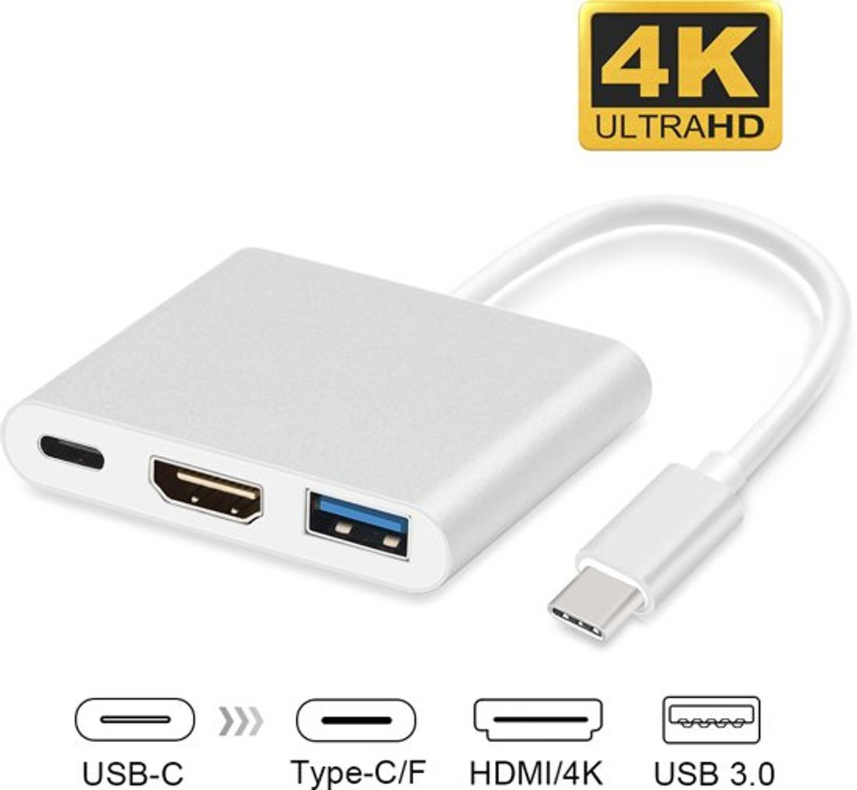 USB-C adapter voor Macbook met USB, HDMI, USB-C - Geschikt voor Macbook / Chromebook / HP Spectre - Windows / Mac OS Laptop / Ultrabooks / Notebook - Multipoort - Zilver