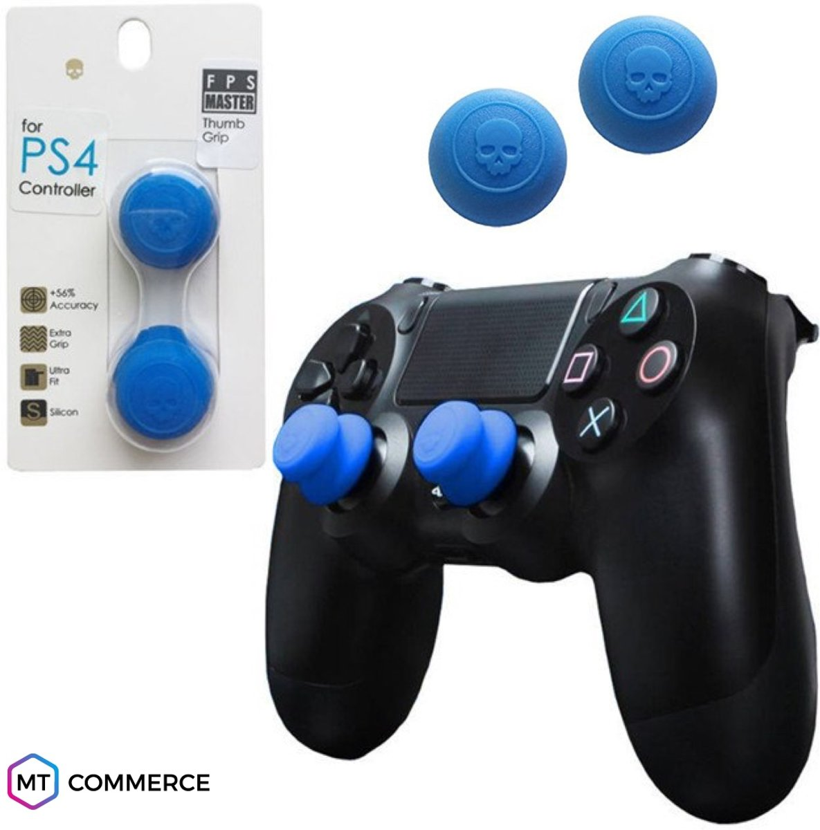 FPS Master thumbsticks voor PS4 - PlayStation Controller Thumb Grips - Blauw