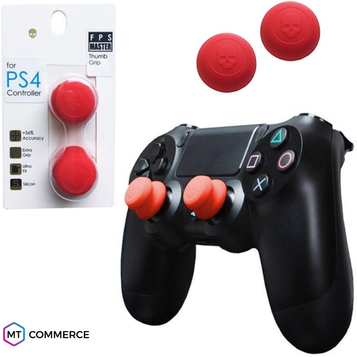FPS Master thumbsticks voor PS4 - PlayStation Controller Thumb Grips - Rood