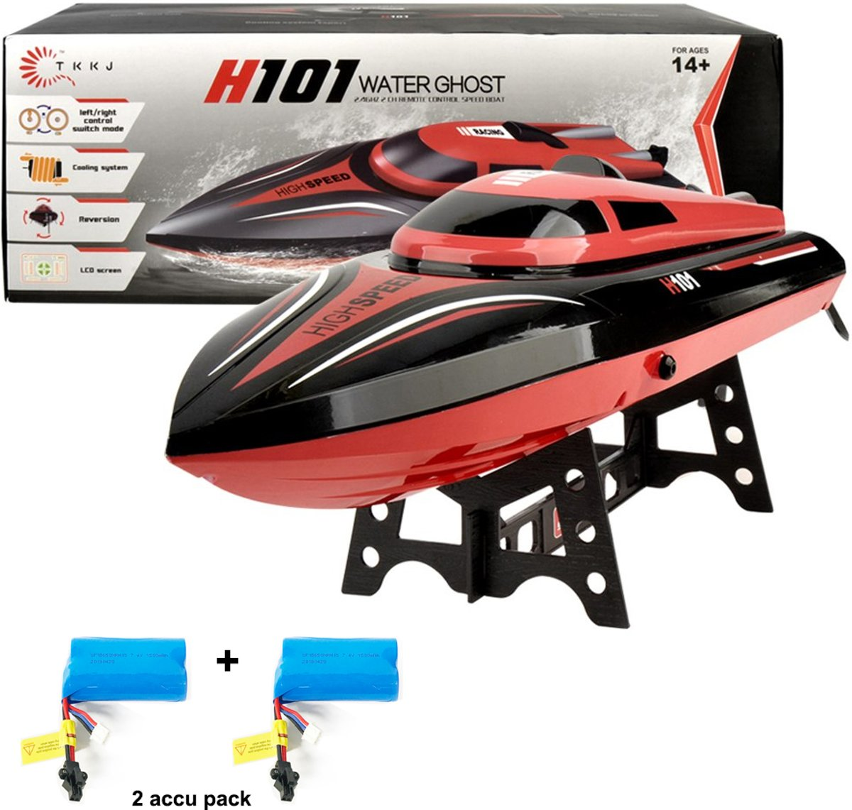 RC Race Boot H101- Water Ghost 2.4GHZ -  h SPEED Boat 25KM + Extra Accu