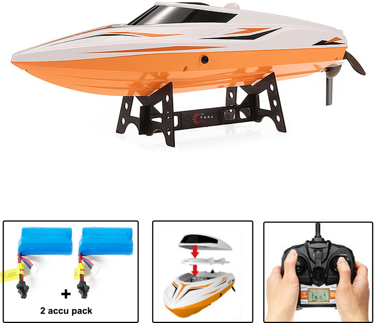 RC Race Boot H105- Water Wizard 2.4GHZ -  h High Speed Boat SPEED 25KM (36CM) + Extra accu