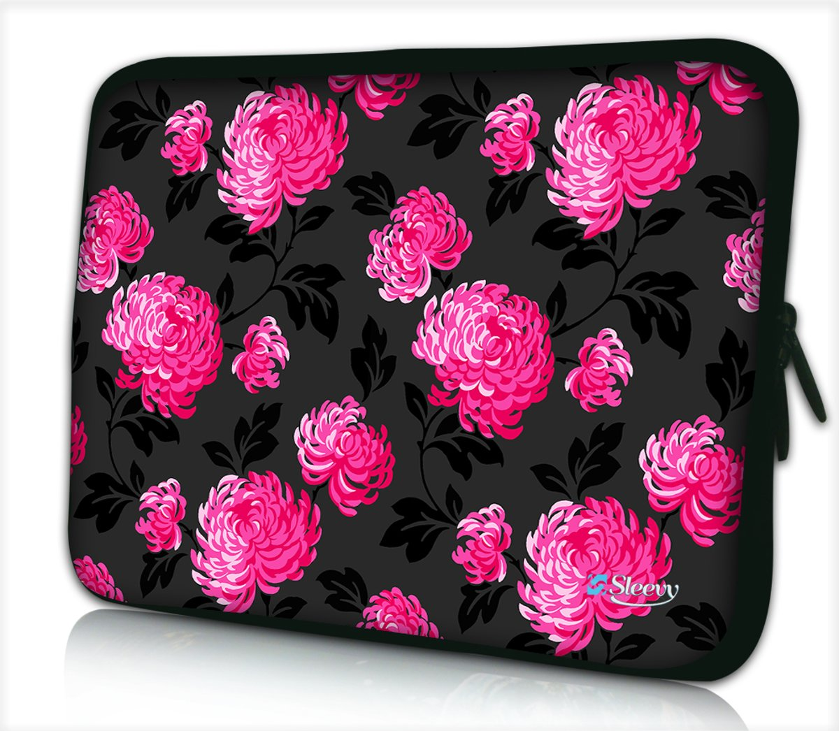 Laptophoes 13,3 inch roze bloemen patroon - Sleevy