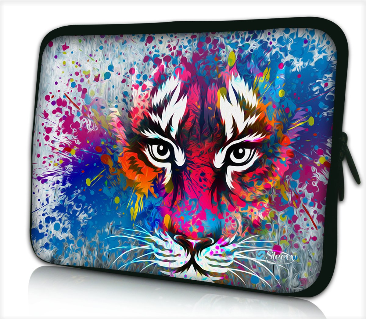 Laptophoes 13,3 inch tijger artistiek - Sleevy