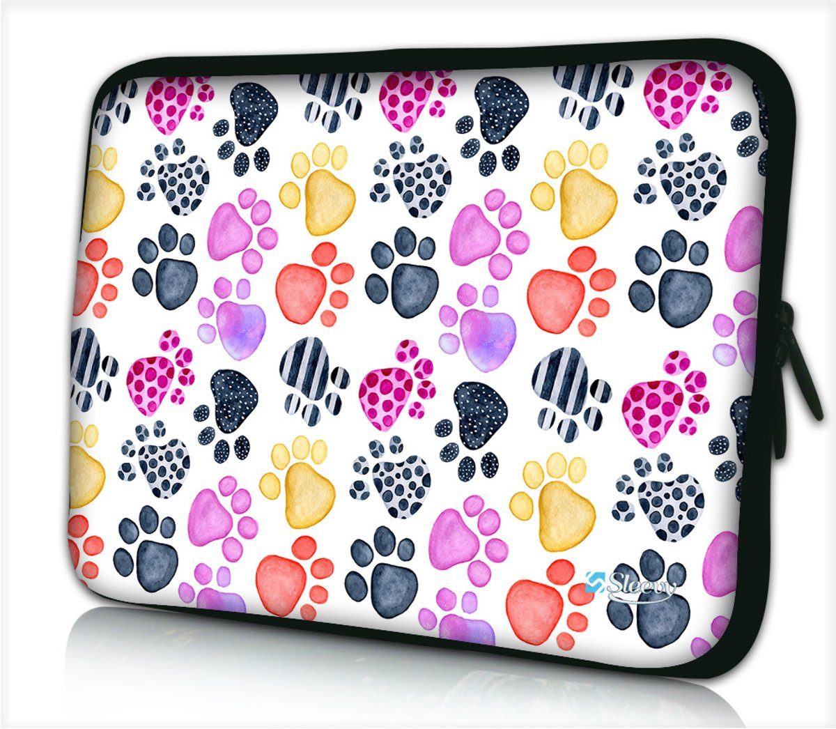 Laptophoes 15,6 inch hondenpootjes - Sleevy - Laptop sleeve - Macbook hoes - beschermhoes