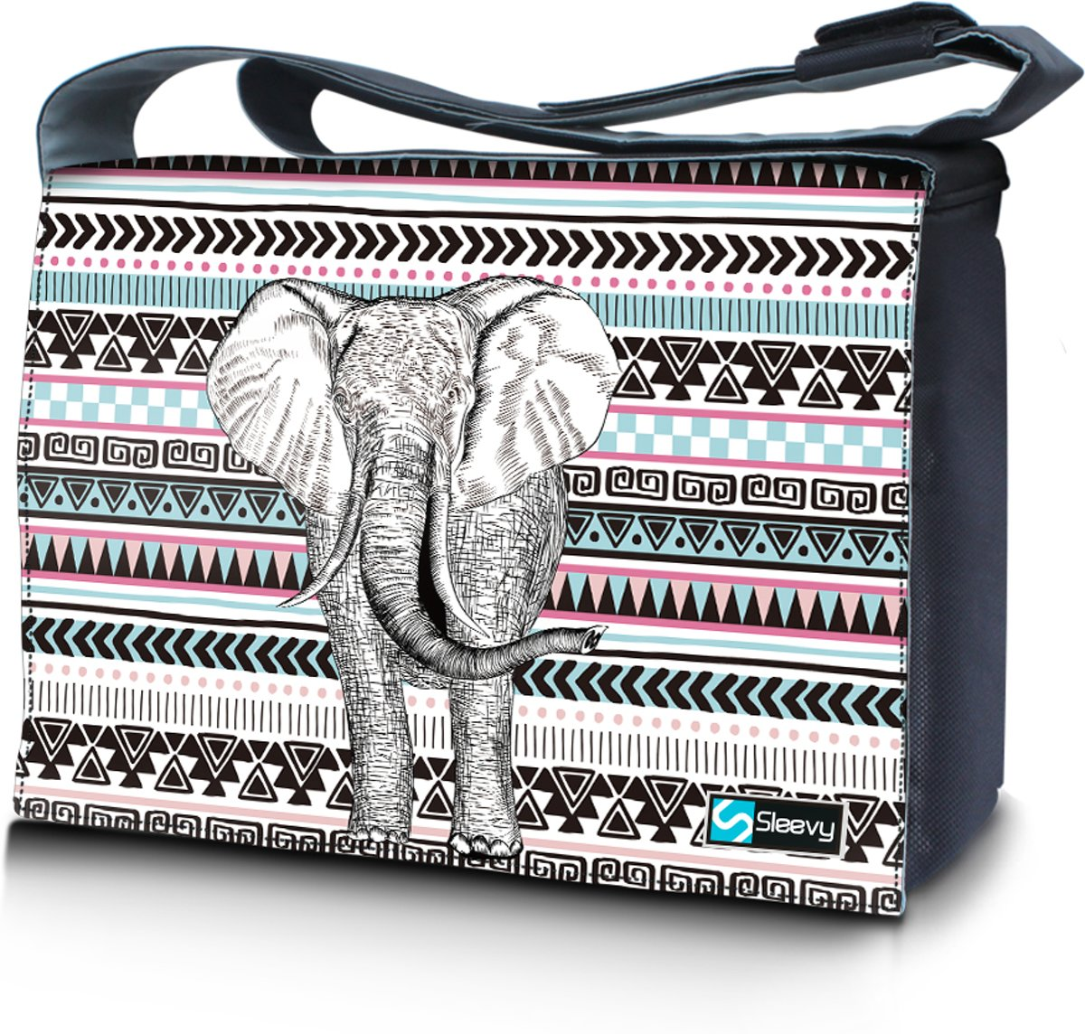 Messengertas / laptoptas 17,3 inch olifant en patroon - Sleevy - reistas - schoudertas - schooltas - heren dames tas - tas laptop