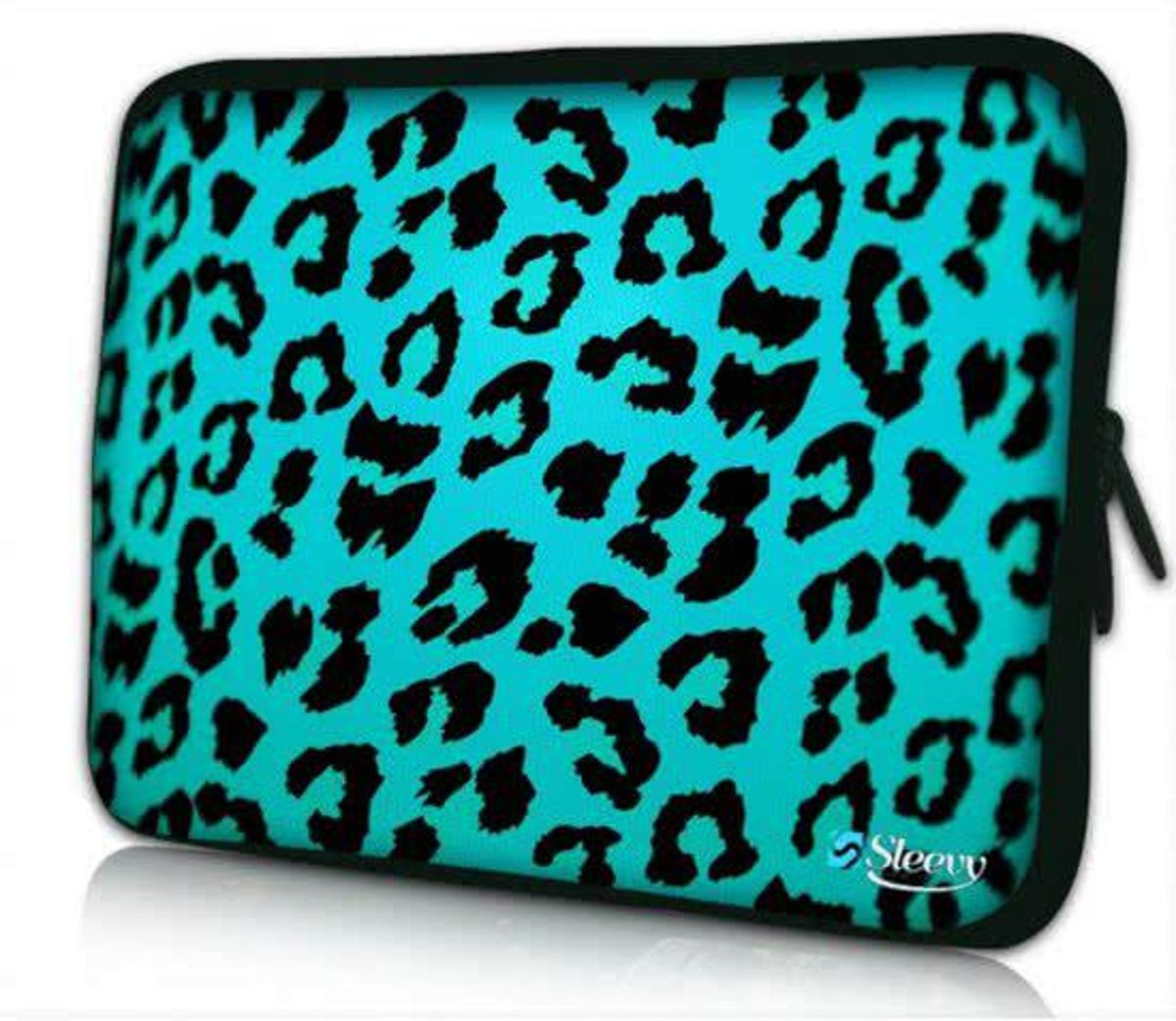 Sleevy 10 laptop/tablet hoes blauwe panterprint - tabletsleeve - tablet sleeve - ipad sleeve