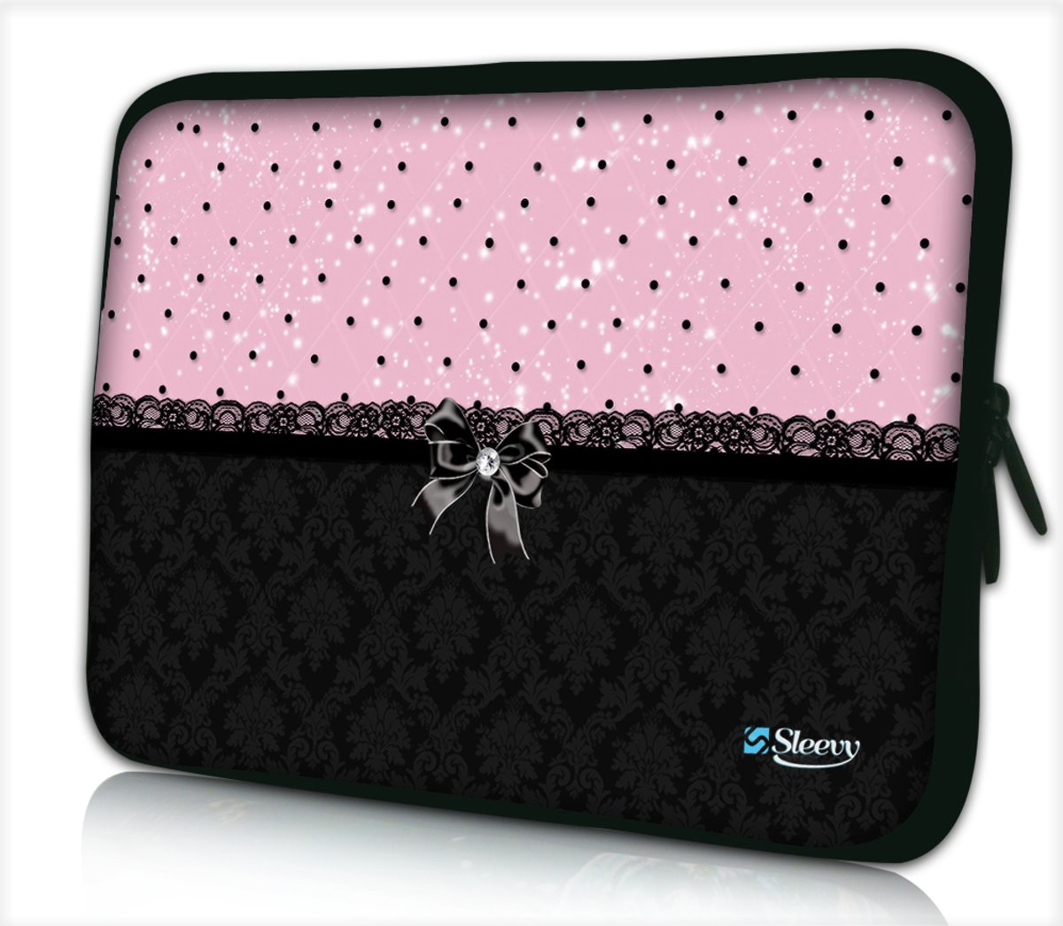 Tablet hoes / laptophoes 10,1 inch patroon chic roze zwart - Sleevy - Laptop sleeve - Macbook hoes - beschermhoes - tabletsleeve - tablet sleeve - ipad sleeve