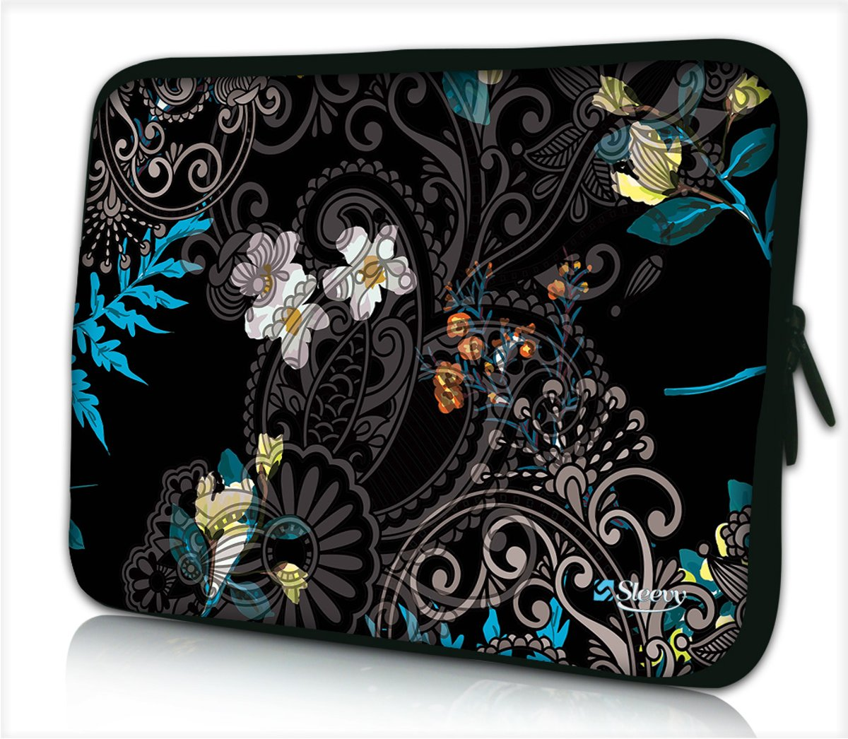 Tablet hoes / laptophoes 10,1 inch zwart patroon bloemen - Sleevy - laptop sleeve - tablet sleeve