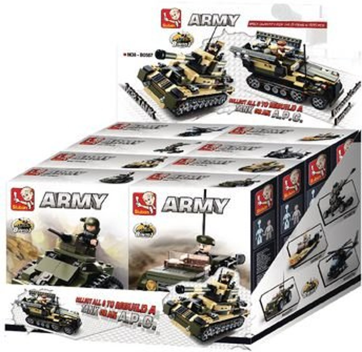 M38-B0587 Bouwstenen Army 8-into-1 Display