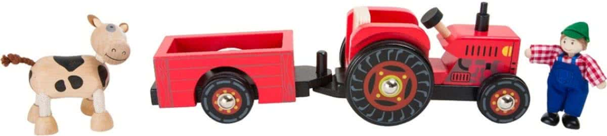 Small Foot tractor met trailer hout 4-delig