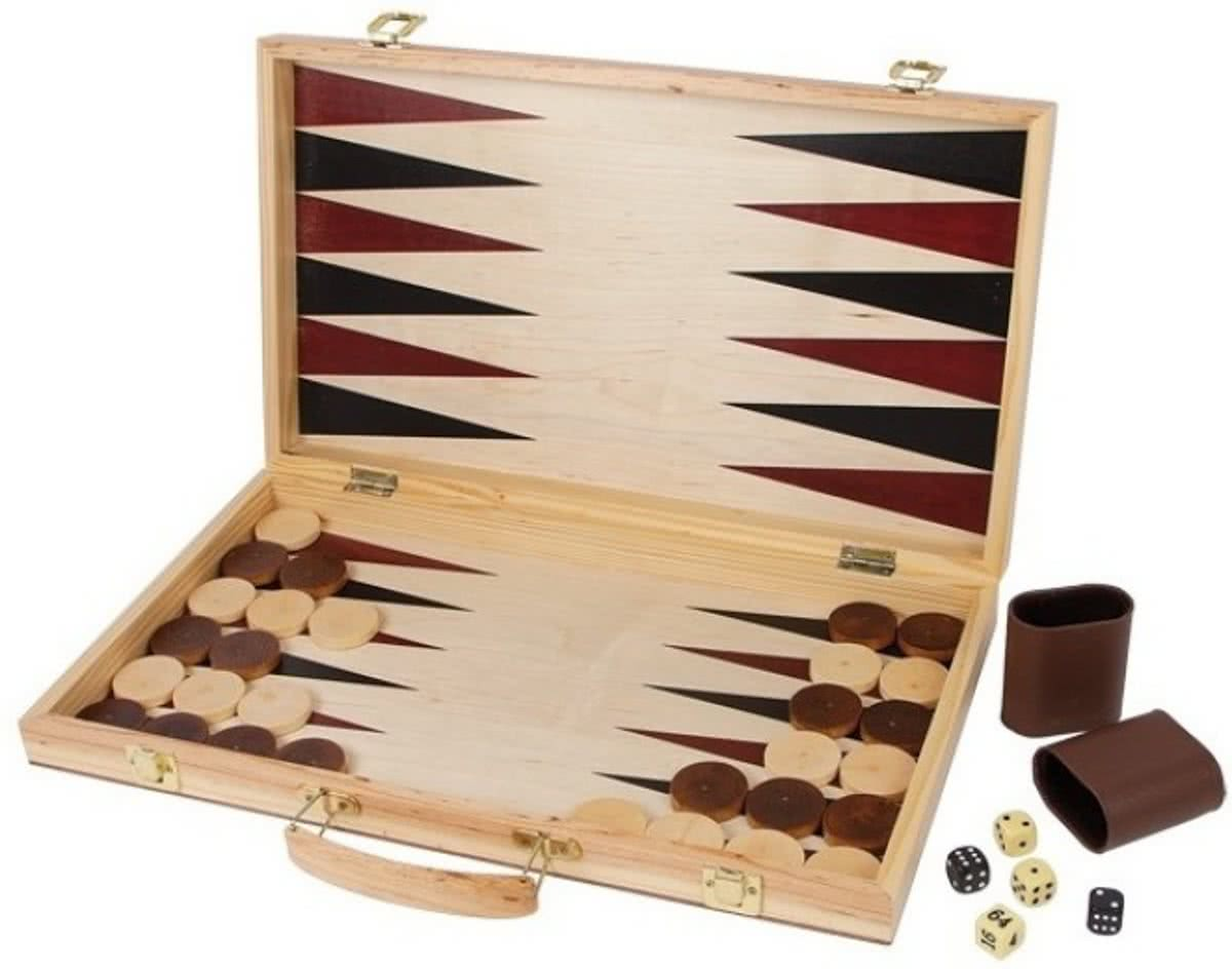 Small foot Schaakspel en backgammon koffer 52 x 45 x 3 cm
