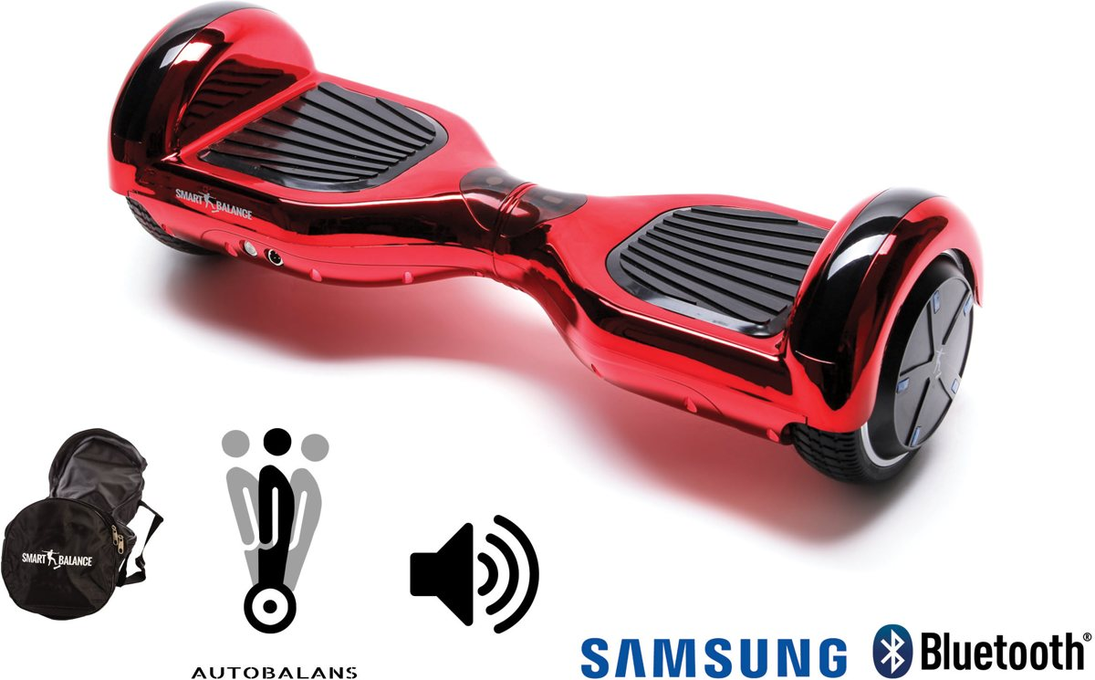 Hoverboard Smart Balance™ Premium Brand, Regular ElectroRed, 6.5 pouces, Bluetooth, haut-parleurs, auto balance, sac, 1000w