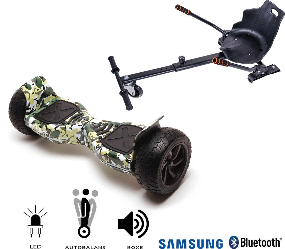 SMART BALANCE Paquet Hoverboard Hummer CAMOUFLAGE+ Hoverseat - 8.5 pouces, Bluetooth