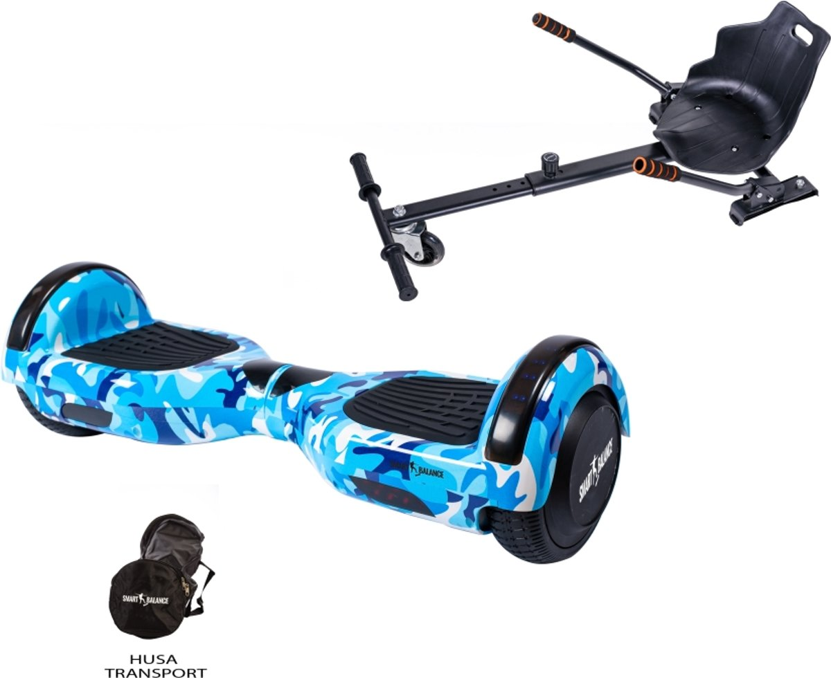 SMART BALANCE Paquet Hoverboard Regular Camouflage Blue + Hoverseat - 6.5 pouces, Bluetooth