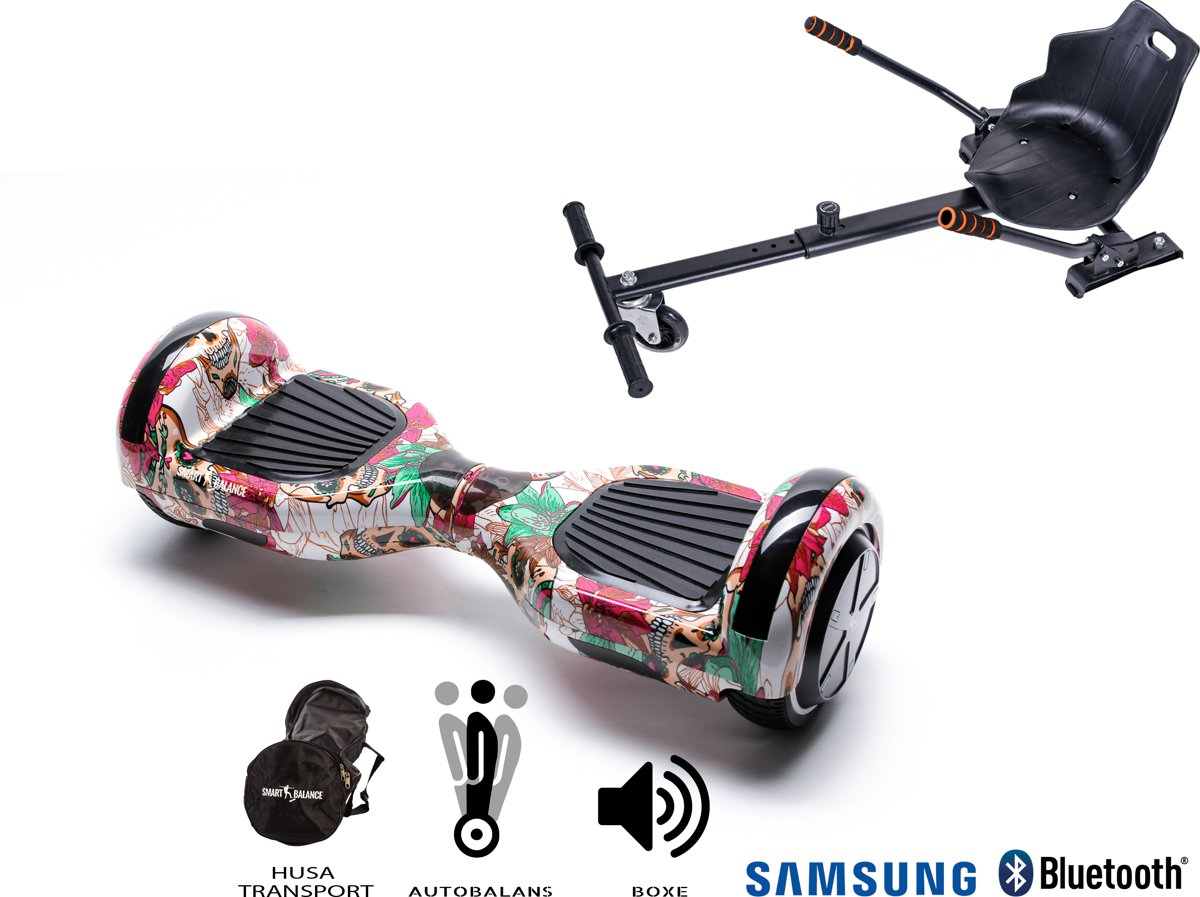 SMART BALANCE Paquet Hoverboard Regular Skull Color + Hoverseat - 6.5 pouces, Bluetooth