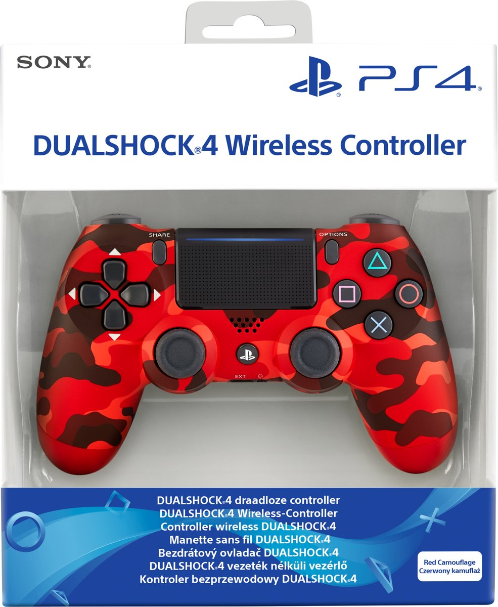 PS4, Wireless Dualshock 4   V2 - Red Camouflage