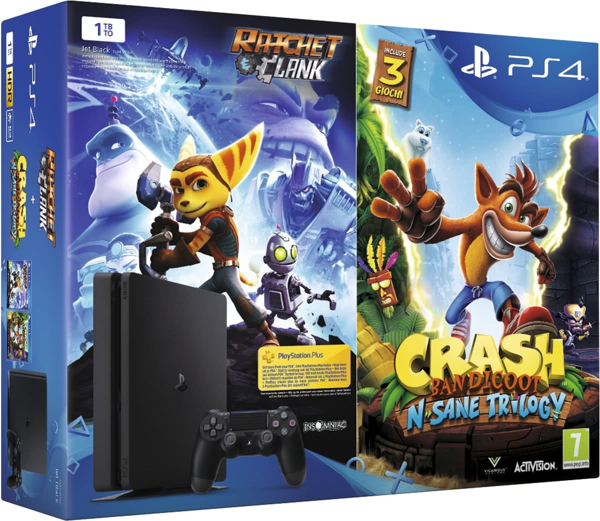 Sony PS4 1TB + Ratchet & Clank + Crash Bandicoot: NSane Trilogy 1000GB Wi-Fi Zwart
