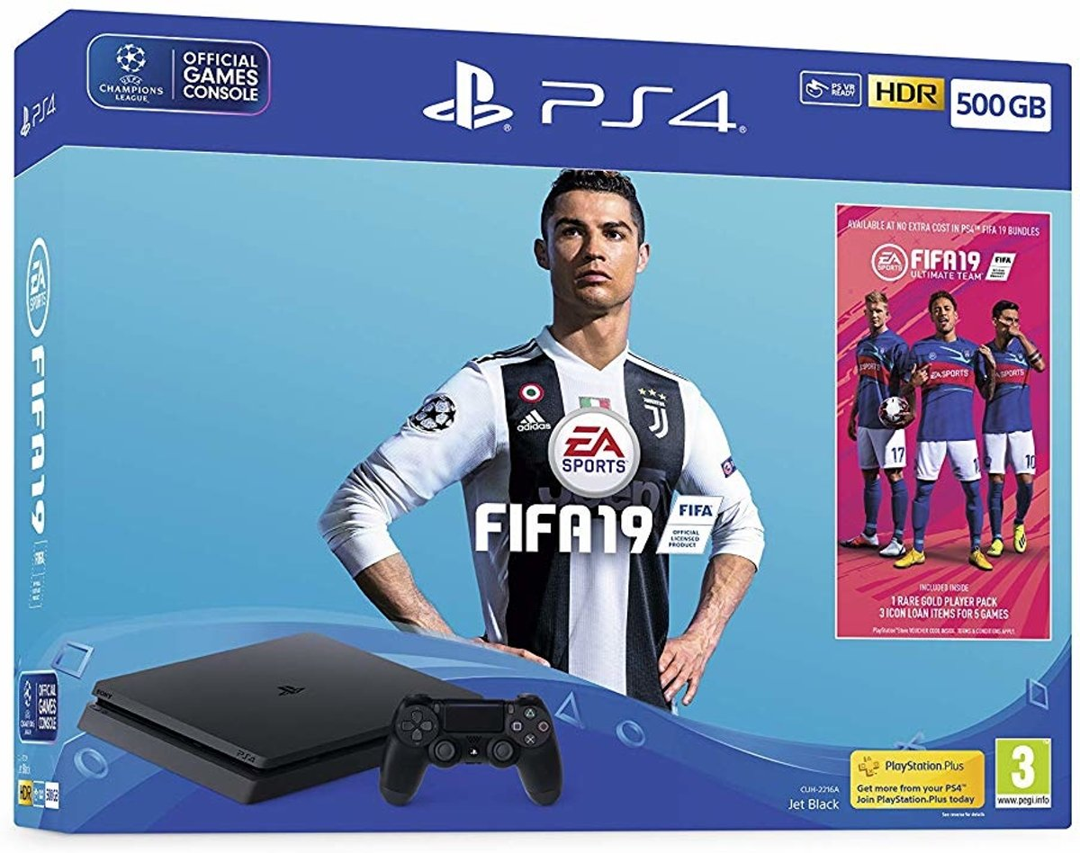 PlayStation 4 Slim + FIFA 19 Zwart 500 GB Wi-Fi