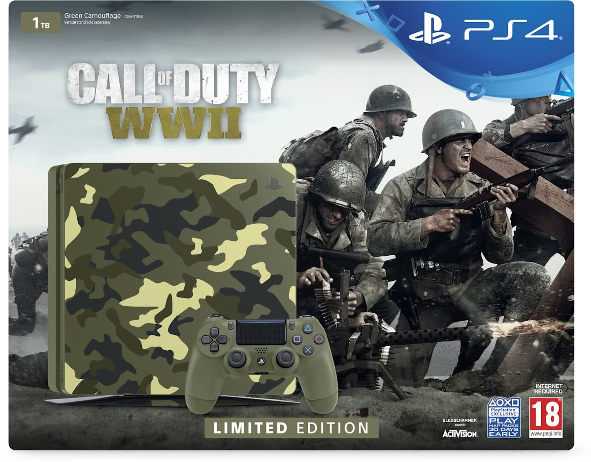 PlayStation 4 Slim Call of Duty WWII Console - Limited Edition - 1TB - PS4 Camo